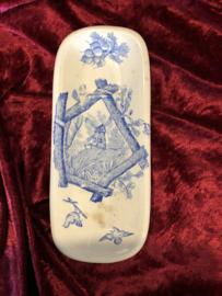 Kammenbakje - rechthoekig model waar geen deksel op hoort - waarschijnlijk Nimy - décor COTAGE lichtblauw