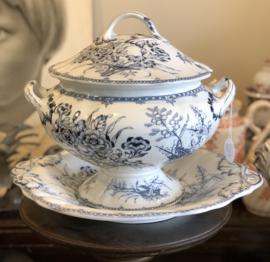 Terrine / soepterrine - op voet - Minton & Co - décor MONA blauw