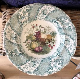 Bord – diep – William Smith & Co (Wedgewood)– decor Fruit Basket groen