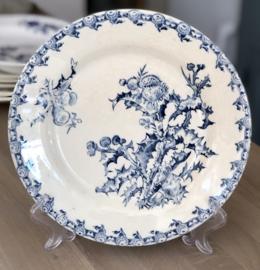 Dinerbord - Porcelaine Opaque de GIEN - décor CHARDONS blauw