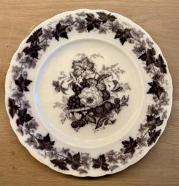 Dinerbord / dinner plate / middagstallrik - licht gegolfde rand - Rörstrand (Zweden / Sweden / Sverige) - décor druiven / grapes / druvor en ander fruit / frukt in vloeizwart / flow black / flytande svart