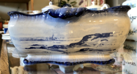 Saladeschaal / schaal - vierkant - Faienceries de Sarreguémines - décor MARINES blauw