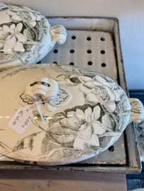Terrine / groenteterrine / tureen - ovaal - kleiner model - George Jones & Sons (Stoke-on-Trent) - décor LILY