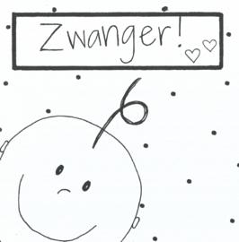 Handmade by Janine - Kaart - Zwanger baby wit