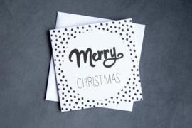 Handmade by Janine - Kerstkaartset -  Merry Christmas dots