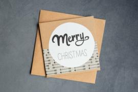 Handmade by Janine - Kerstkaartset -  Merry Christmas stripe