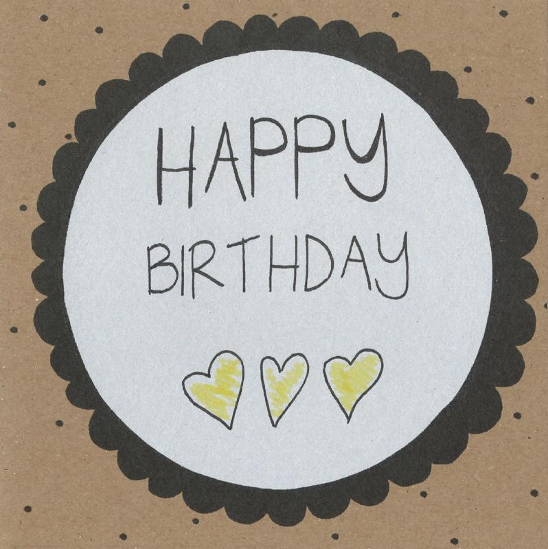 Kaart - Happy Birthday hearts