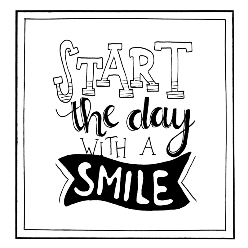 Handmade by Janine - Poster - Start the day with a smile