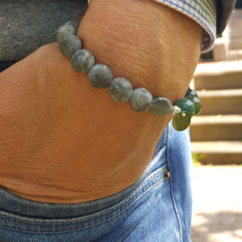 Unisex armband Hidden Greens, agaat en labradoriet
