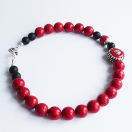 Ketting Delicious Red, onyx en koraal