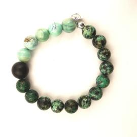 Unisex armband Hidden Ferns,  afrikaans turquoise, agaat, onyx