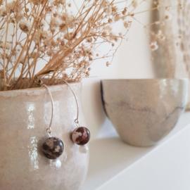 Oorbellen Marbles, jaspis en parel