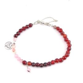 Armband Red Velvet, granaat, jade