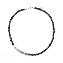 Ketting Fancy, onyx, parel en labradoriet