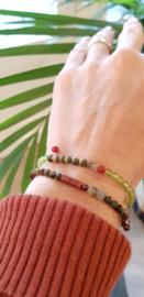 Armband Hidden Forest, dragon bloedsteen, jaspis, granaat