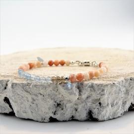 Jacky armband Geluk & Hoop, jaspis, rookkwarts en aquamarijn