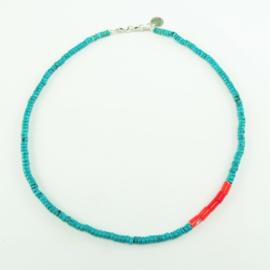 Ketting Sea Spirit, afrikaanse turquoise en koraal