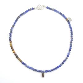 Ketting Pride, blauw sodaliet, tijgeroog