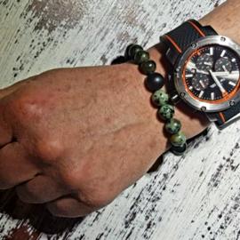 Unisex armband Hidden Forest, zoisiet, afrikaans turquoise