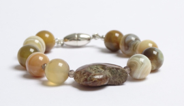 Armband Pebbles, agaat en ammoniet
