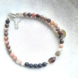 Armband Tiny Rocks, versteend hout, onyx, rookkwarts en labradoriet