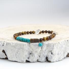 Jacky armband Moed & Kracht, turquoise magnesiet en tijgeroog