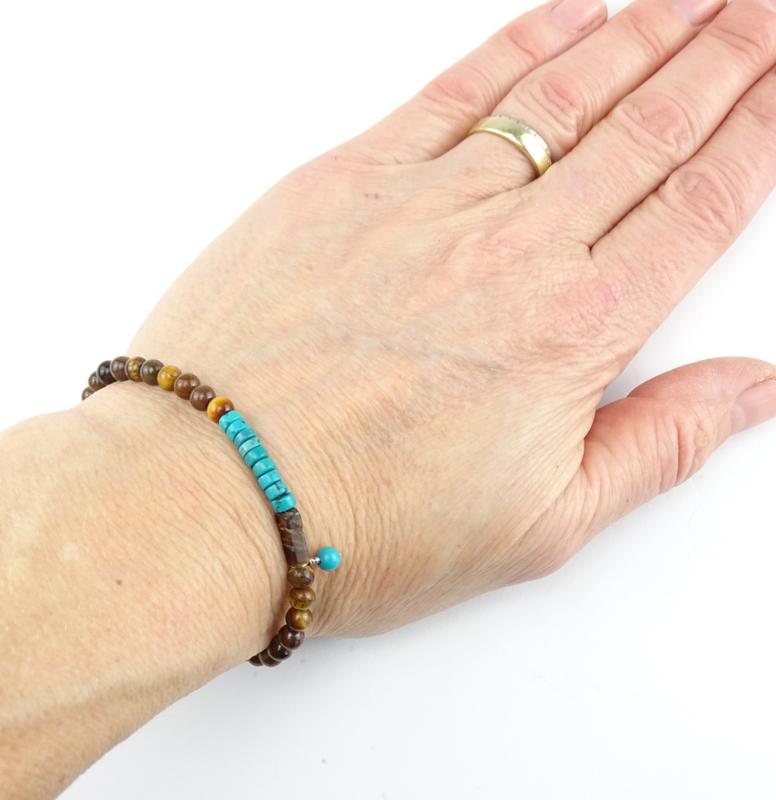 Jacky armband Moed & Kracht, magnesiet en tijgeroog