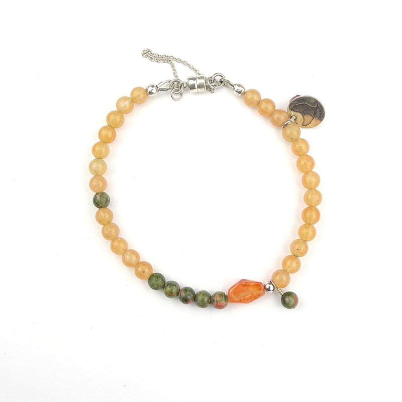 Armband Peachy Forest, jade, unakiet