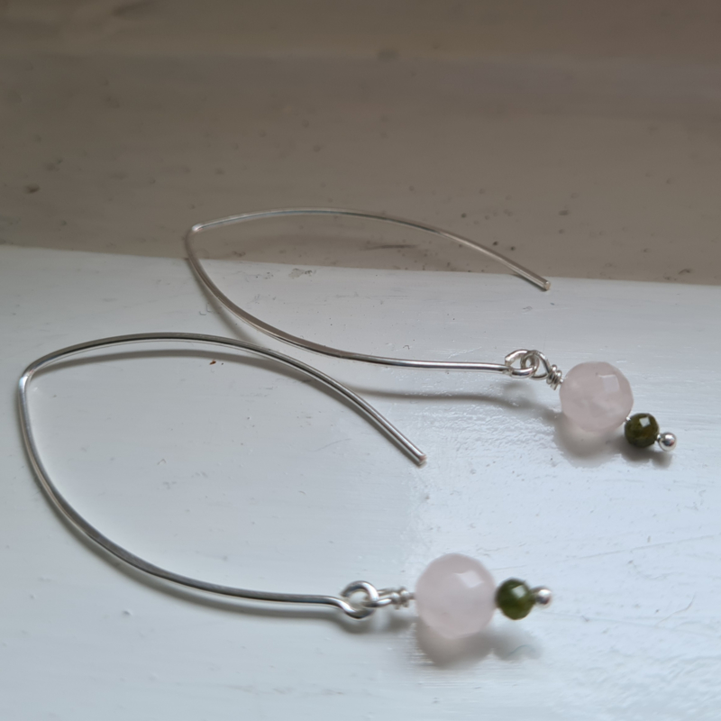 Oorbellen Pale Blush, met rozenkwarts