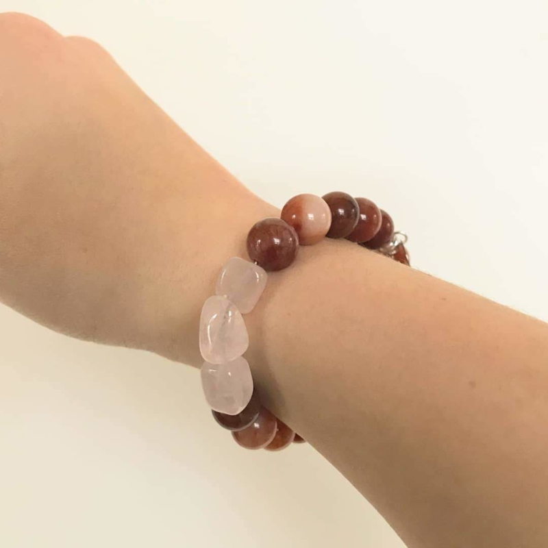 Armband Terra, carneool en rozenkwarts