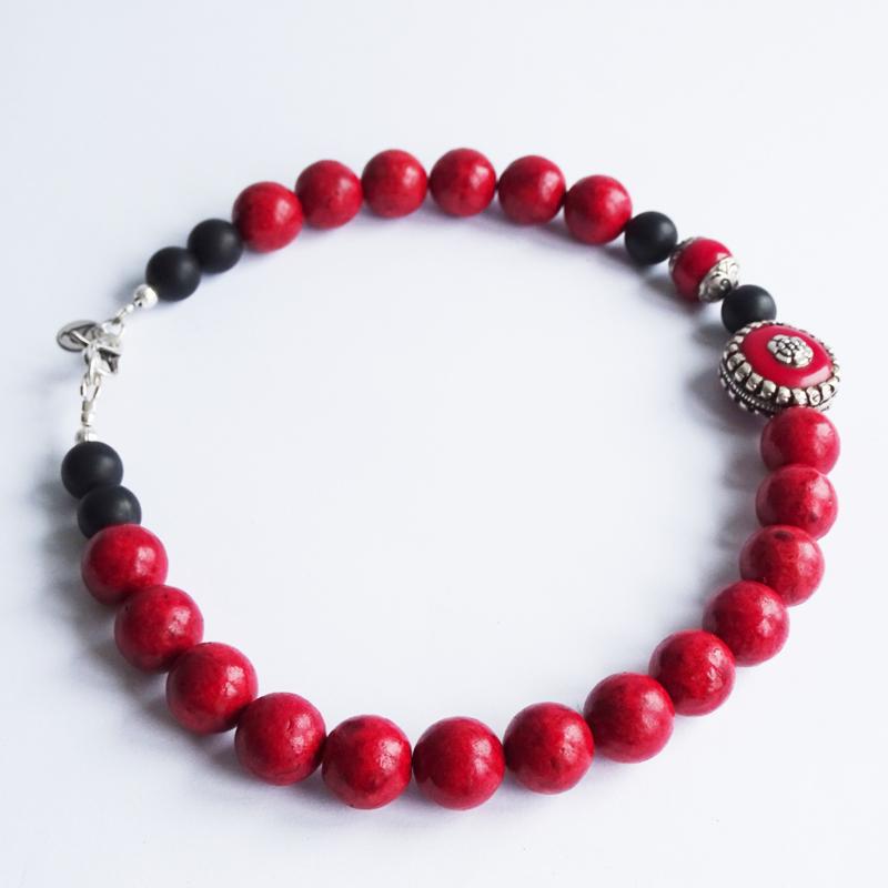 Ketting Delicious Red, onyx en koraal
