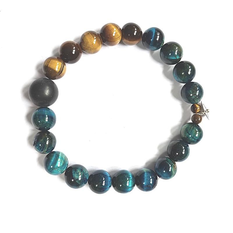 Unisex armband Hidden Blues, blauw en gouden tijgeroog en onyx
