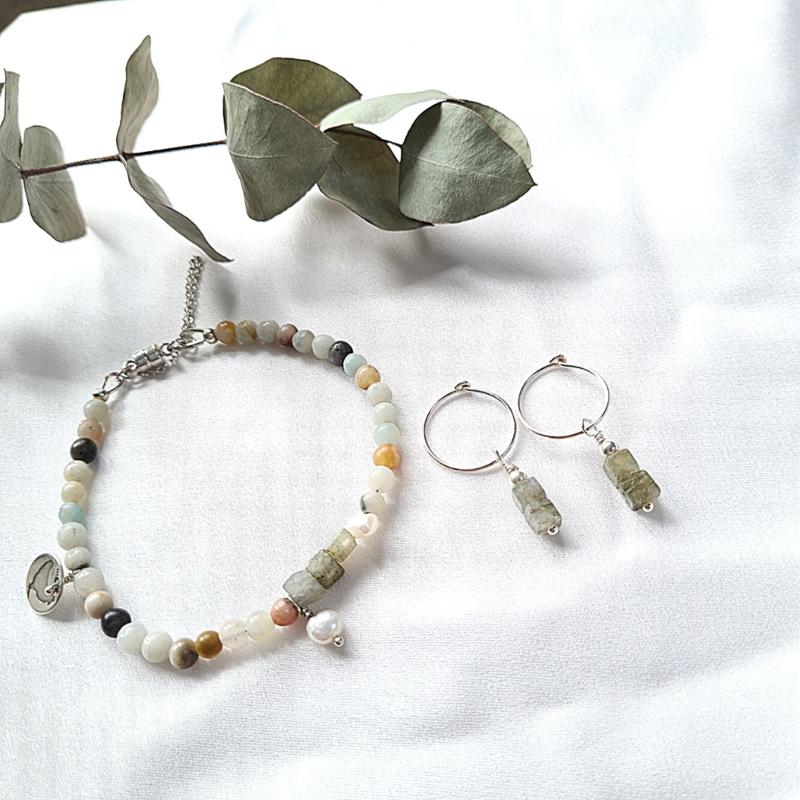Set Armband  & oorringen Liefde & Vriendschap, amazoniet, labradoriet, parel