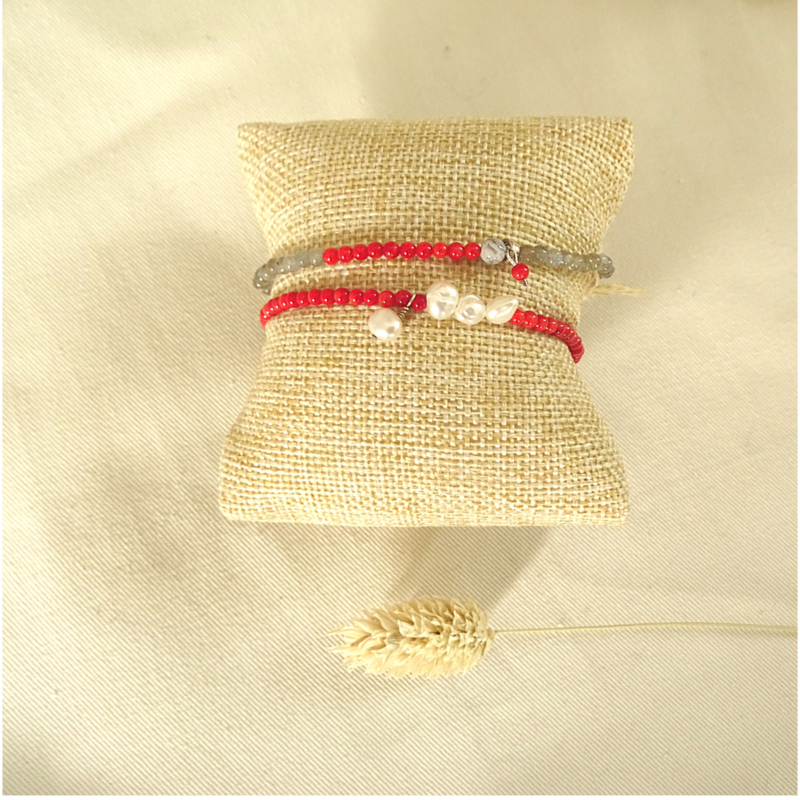 Armband Grace, parel, koraal en toermalijn