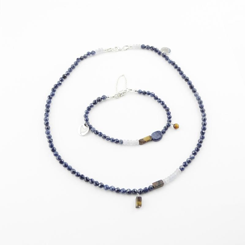 Armband City Blues, saffier, lapis lazuli, tijgeroog