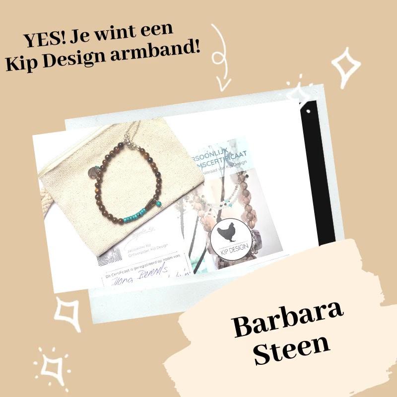 Gewonnen: Barbara Steen wint haar favoriete Kip Design armband!
