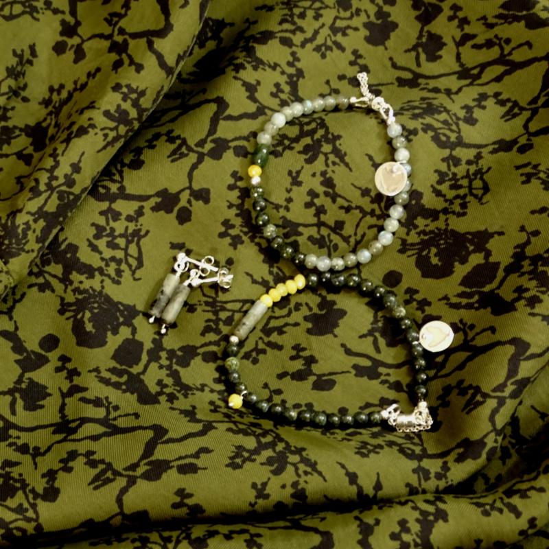 Armband Dante, zoisiet, labradoriet en lichtgele agaat