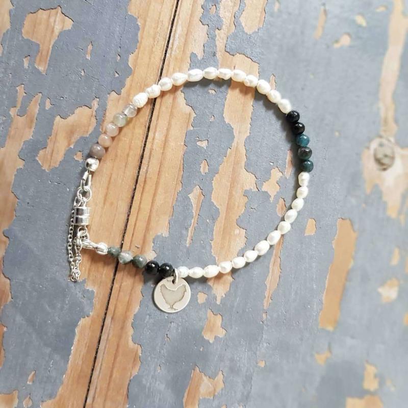 Armband Lucky Pearl, parel, toermalijn en agaat