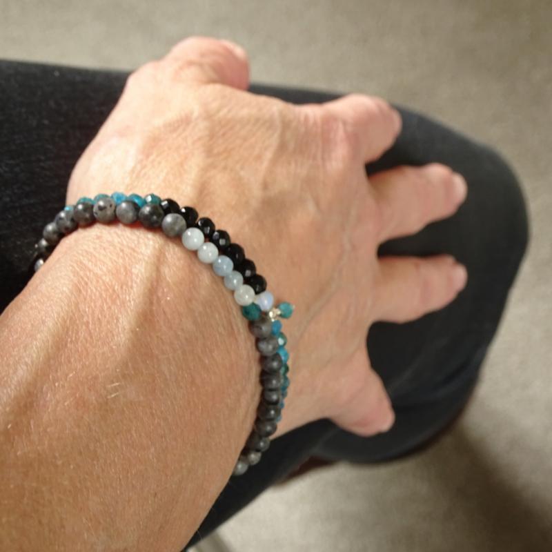 Jacky armband Positief & Minder Stress, aquamarijn, apatiet en labradoriet