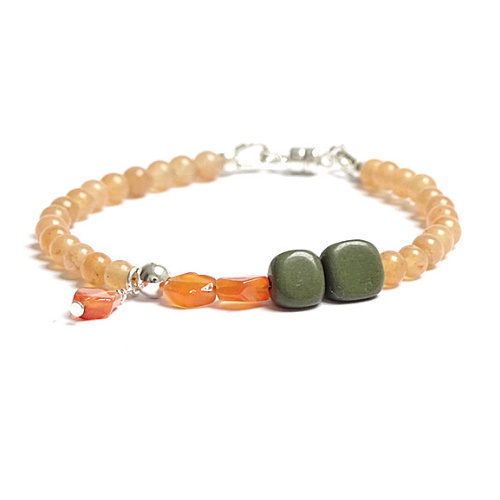 Armband Peachy Moss, jade en serpentijn