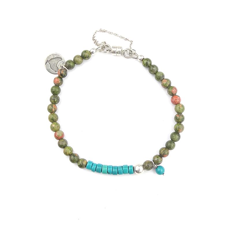 Armband Fern, unakiet en turquoise magnesiet