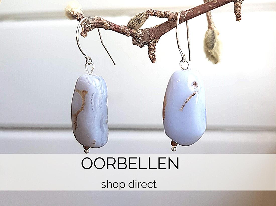 Kip Design oorbellen met edelstenen