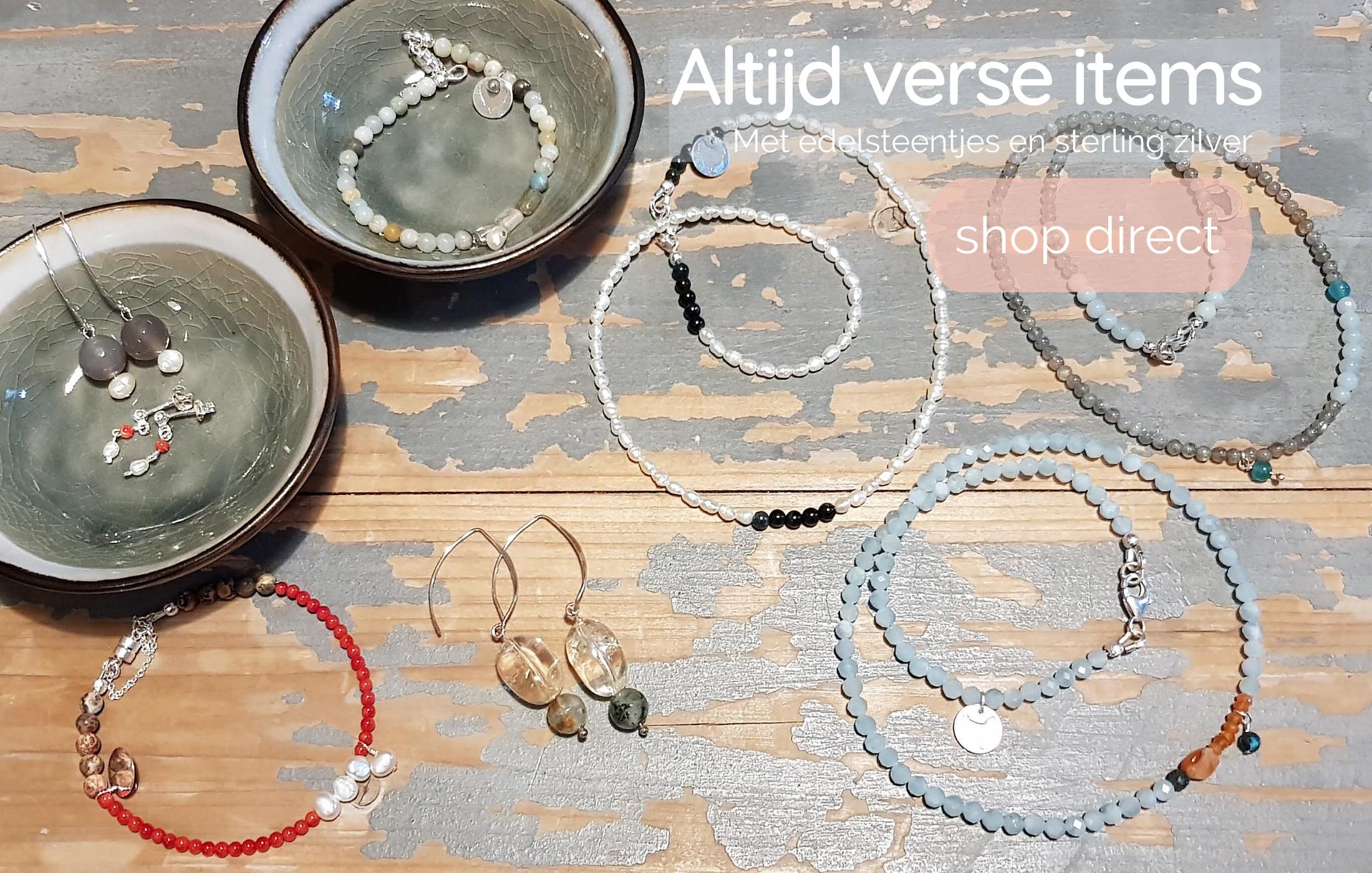 Kip Design kettingen, armbanden en oorbellen met edelstenen