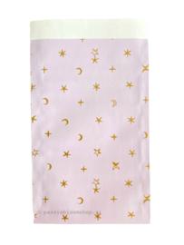 Cadeauzakje lila sterren 12x19