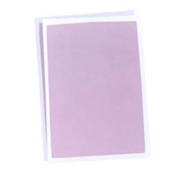 Blanco A6 kaart Roze/paars witte rand