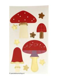 Stickers grote paddenstoel rood met witte stippen