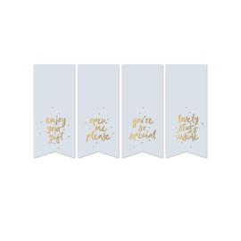 Sluitstickers vaantjes mint/ licht blauw teksten (4 stuks)