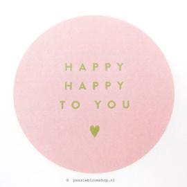 Sluitstickers rond happy happy roze
