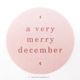 Sluitstickers rond kerst december Roze