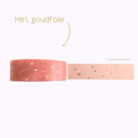 Washi tape roze met gouden streepjes